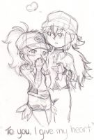 Pokemon Touko and N WIP by crystalamaris