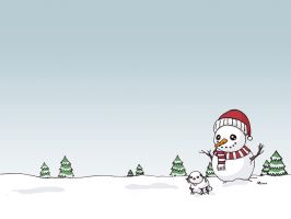 A Snowman and his Dog by Domie1337