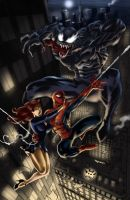 spidey and mj with venom by aerlixir