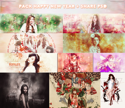 Pack Happy New Year + Share PSD by dau2803