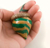 holiday acorn ornament swirl ploymer clay by amberhlynn
