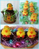 Easter Chick Macaroons by Kitteh-Pawz