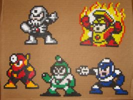Megaman bead bosses 1 by zaghrenaut