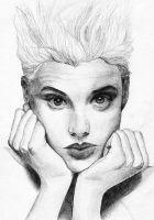 Agyness Deyn Pencil Drawing by petrosptrs