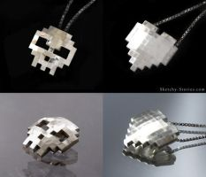 8-bit Skull and Heart Pendants by Sketchy-Stories