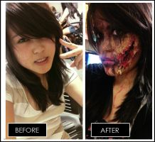 Human vs Zombie Makeup by ychen183