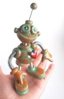 Patina Peter Garden Robot Sculpture by HerArtSheLoves