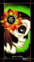 Painted Face and Pretty Flower by Myrcury-Art