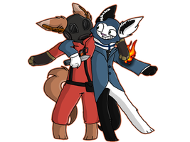 The Pyro and The Spy by CandyGearz