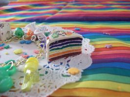 Rainbow Cake Charms by lessthan3chrissy