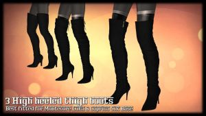 [MMD] 3 High heeled thigh boots (Montecore + C6) by Riveda1972