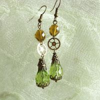 Green Victorian inspired steampunk gear earrings by ProfessorBats