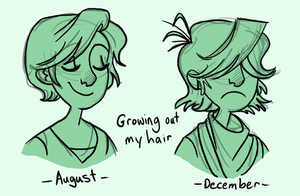 Growing out my hair by TitanicGal1912
