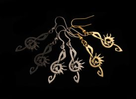 Dragon G-Clef earrings by Ugrik