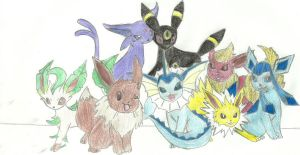 Pokemon eevee's evolutions by Sanchiabethxx