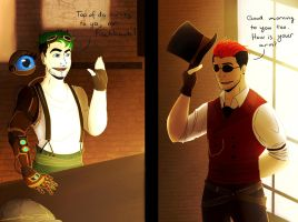 Steampunk!Markiplier and Jacksepticeye by einoz