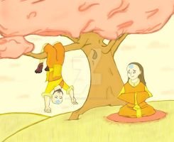 Meditating- Aang's Parents by KHLionWlfRdr