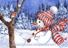 ACEO Snowman and Robin by JoannaBromley