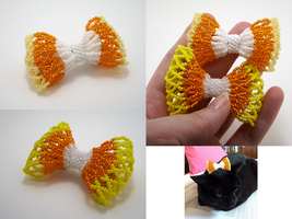 Candycorn Bead Ribbon Hairclip by pinkythepink