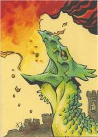 Fire Dragon - sketchcard by Steevcomix