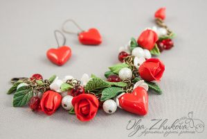 jewelry set with red roses and hearts by polyflowers
