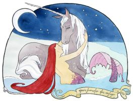 Mermaid Consoles the Unicorn by miggetymary