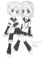 Rin and Len Kagamine by ChiyoNyx