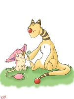 Ampharos And Skitty by loverofscythe