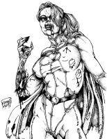 Zombie Power Girl inked by mach1neman