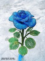 Blue beaded rose by Anchik22