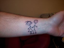 Stick Boy And Girl Tattoo by hippieman1234