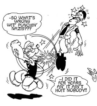 Popeye Punches Hitler by Smigliano