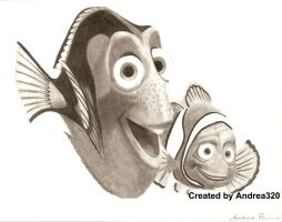 Finding Nemo: Marlin and Dory by Andrea320