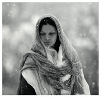winter portrait without a basket with apples by golpista