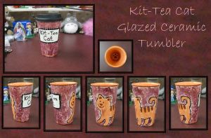 Kit-Tea Cat Glazed Tumbler by craftysorceress