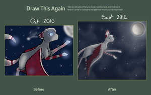 Draw this again - Chasing the stars and moon by Poppyshadow