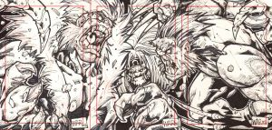wolvie, tooth and red puzzle sketchcard by warpath28
