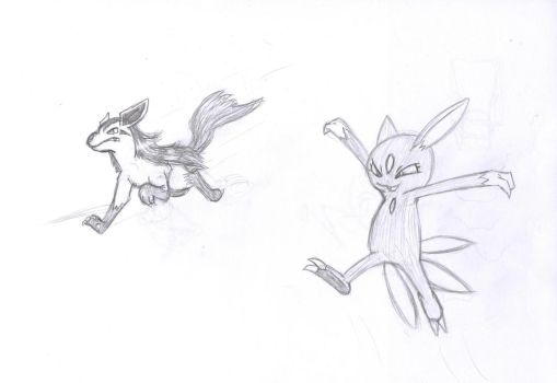 Mightyena and Sneasel sketch by sims123sims
