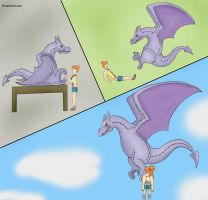 Misty kidnapped by plushie Aerodactyl by Auroracuno