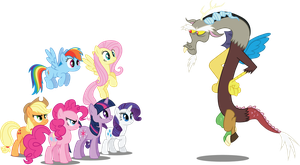 Mane6 and Discord by Jakage
