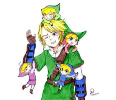 Link  and  Four Sword by WolfMoon17