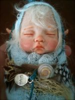 Fairy Baby in Blue close up by rosannasart