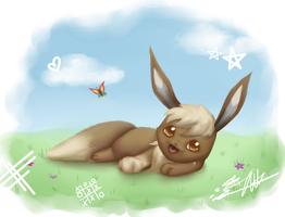 Eelco the Eevee. Wallpaper. by Darkashter