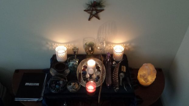 My Current Wiccan Altar by CoNiGMa