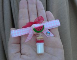 Kawaii Watermelon Milk Ribbon Charm by Gynecology