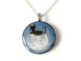 Cat on the Moon - Pendant Necklace by sobeyondthis