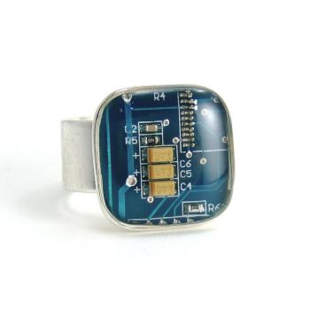 Blue Circuit Board Ring by Techcycle