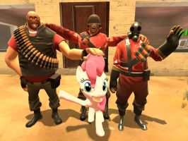 Pinkie Pie Heavy Pyro and Soldier by ErichGrooms3
