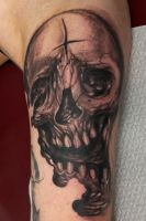 skull on inner arm WIP by graynd