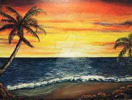 Sunset beach painting by Evylina